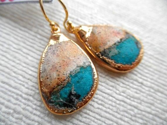 Natural Peruvian opal earrings - brown and aqua opal earrings - gold earrings - E A R R I N G S