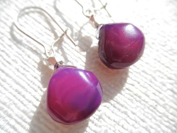 Purple chalcedony earrings - silver earrings - purple earrings - L A U R E N