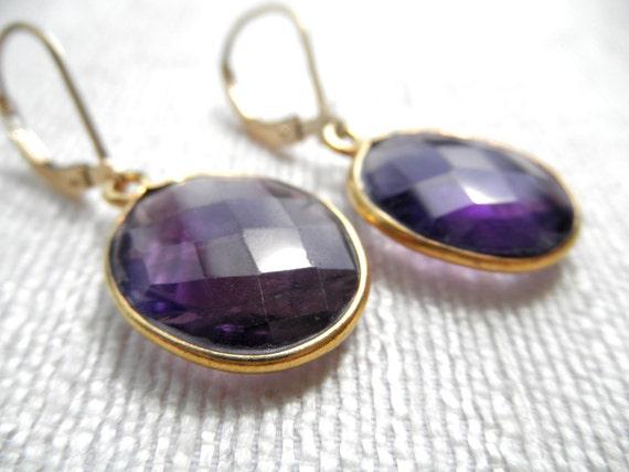 Large amethyst earrings - purple earrings - gold earrings - E A R R I N G S