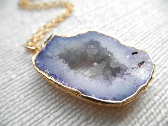 Purple agate necklace - gold necklace - purple necklace - agate necklace - ONE OF A KIND