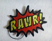 Rawr - Comic Headband embroidery