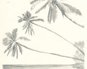 Hawaii Paradise Three Palm Tree Beach Pencil Drawing 8x10 Print