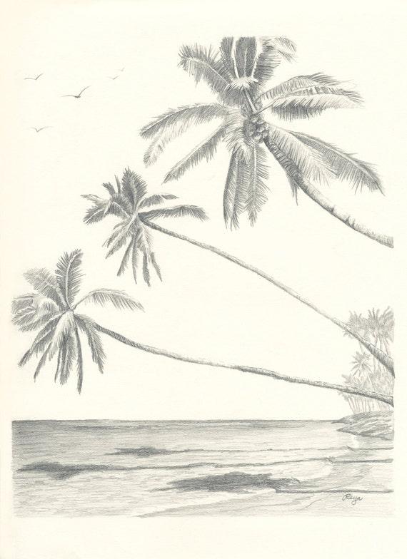 Items similar to Hawaii Paradise Three Palm Tree Beach ...