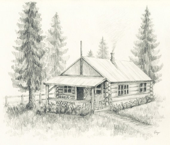 Little Log Cabin Pencil Drawing Print
