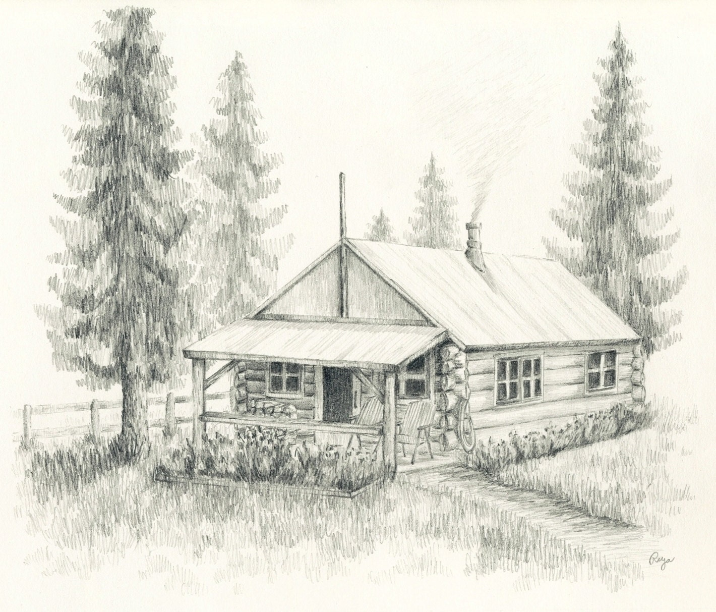 Pencil drawings of small log cabins joy studio design for How to draw a log cabin step by step