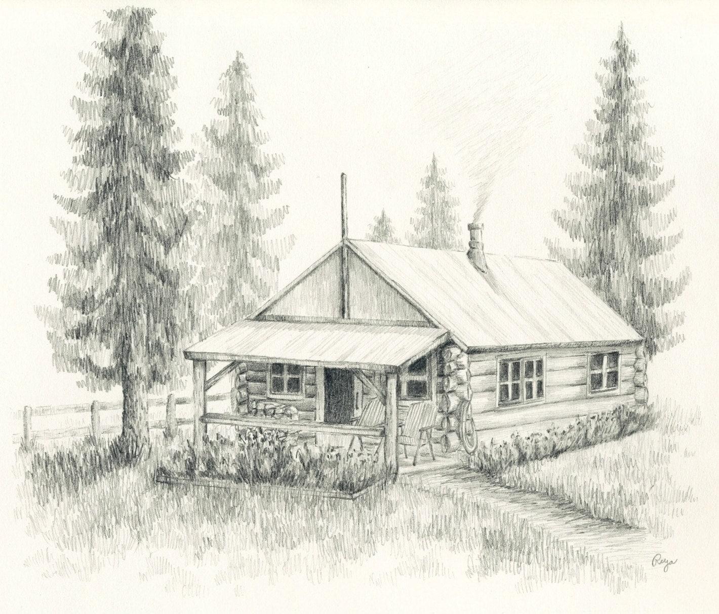 Log Cabin Drawings ~ Little log cabin original pencil drawing