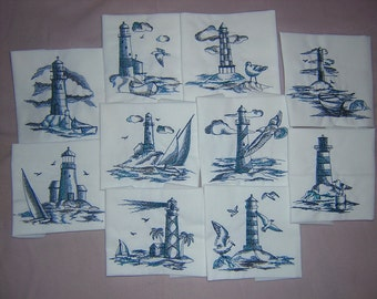 Embroidered Toile Lighthouse Quilt Blocks