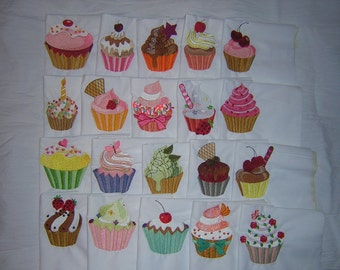 20 Machine Embroidered Filled in Cupcakes Quilt Blocks