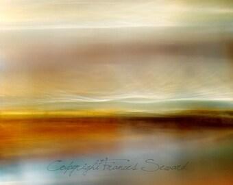 Coastal Wall Art, Mysterious landscape, yellow, orange, blue, sea storm, giclee canvas, giclee original print, unique landscape, photography
