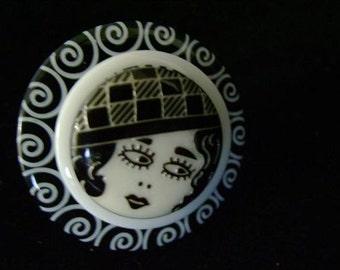 Flapper Girl Button Rings
