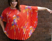 Cherry Red Floral Caftan Accordion Blouse