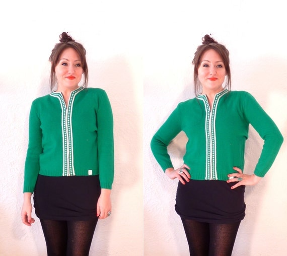 1960s sweater/ 60s wool cardigan/ grass green/ unworn