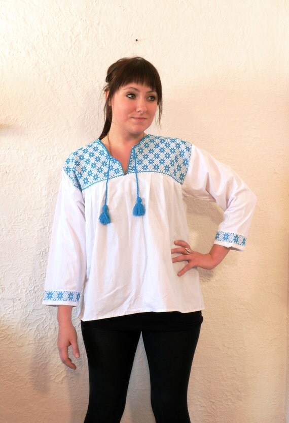 White Turquoise Floral Mexican Embroidered Blouse