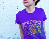 Camera Colora Tee - Purple American Apparel combed cotton
