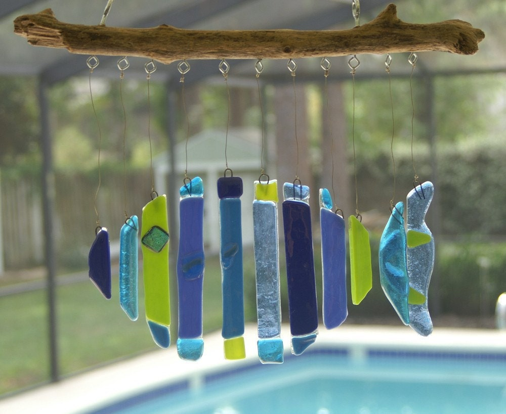 Fused glass fish windchime by krisjcreations on etsy for Fish wind chimes