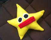 Stuffed Yellow Star Pillow with Kissing Lips