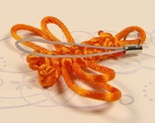 sunshine orange knotted-eye dragonfly phone charm / accessory gift idea / party favor
