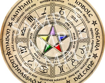 Digital Graphic Wiccan Wheel of the Year with Elemental Pentacle