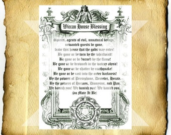 Wiccan House Blessing - Digital Download Graphic BoS Page, home clearing spell