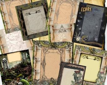 Dark Fairy Garden Digital BoS Pages, 14 original spell pages n stickers, gothic victorian butterflies skeleton