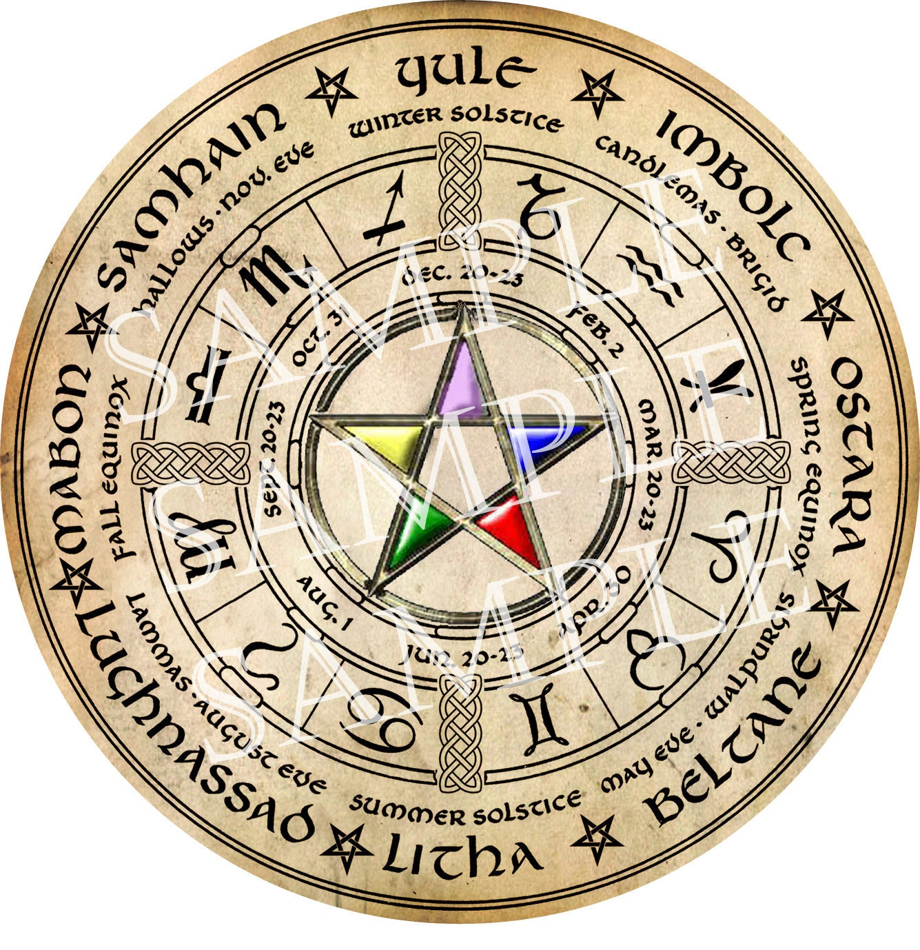 Digital Graphic Wiccan Wheel of the Year with Elemental