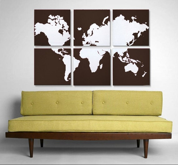 World Map - Large Collection of 6 - Original Silk Screen Prints