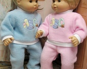 Pink and Blue ABC Playsuits for Bitty Baby Twins