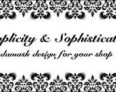 """Black White Damask """"Simplicity & Sophistication"""" Premade Etsy Shop Banner Graphics Set"""