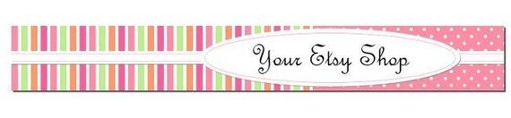 Premade Etsy Shop Banner and Avatar Set - Fun Bright Stripes and Polka Dots