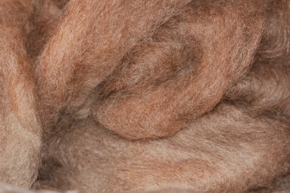 4 oz natural brown roving wool and mohair roving