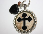 Black Cross with Heart Bottlecap Pendant Necklace