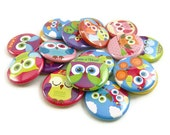 18 Retro Owl Buttons - Flat Back Buttons - Rainbow Owl Buttons - Owl Party Favors