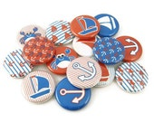Nautical Buttons - PIN BACK - 1 inch pinback buttons - nautical party favors