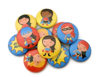 Superhero Girls - Set of 15 - Pinback Buttons - Cute Party Favors - Girl Power - Superhero Party Supplies