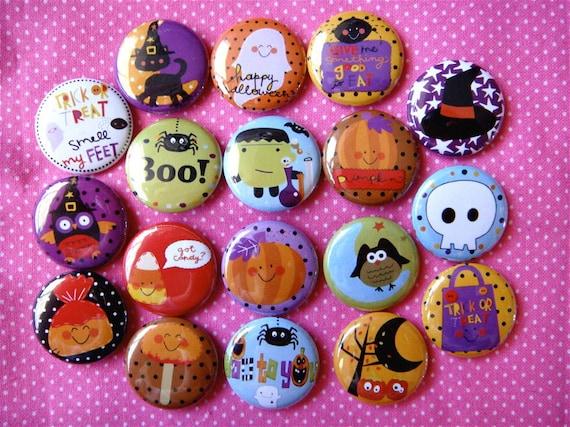 18 Halloween Cute Treats - Flat Back Cabochons Buttons - hair bow supplies - 1 inch 25mm - Set A