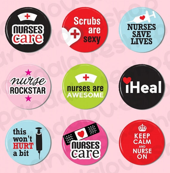Nurses Care - Flat Back Cabochons - Set of 9 - 1 inch 25 mm Round Flatback Buttons