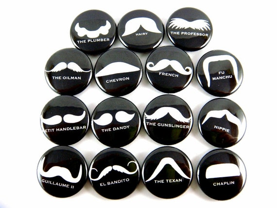 Mustache Love Buttons - Mustache Pins - Black and White Buttons (Set of 15) - Pinback Buttons - 1 inch 25mm