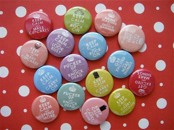 Keep Calm Humor - Set of 16 - Flatback Buttons - Flat Back Cabochons