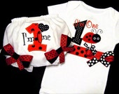 Ladybug First Birthday Girl Outfit, I'm One, Baby Toddler Girl, Red and Black, Number One, Bloomers, Bodysuit