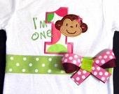 First Birthday Girl Bodysuit, Mod Monkey, Birthday Outfit, I'm One, Number One