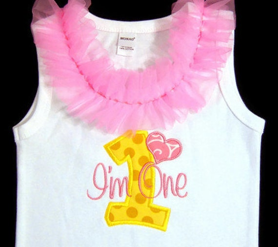 Ready to Ship Size 12-18m First Birthday Tank Top Bodysuit, Pink and Yellow, Photo Prop