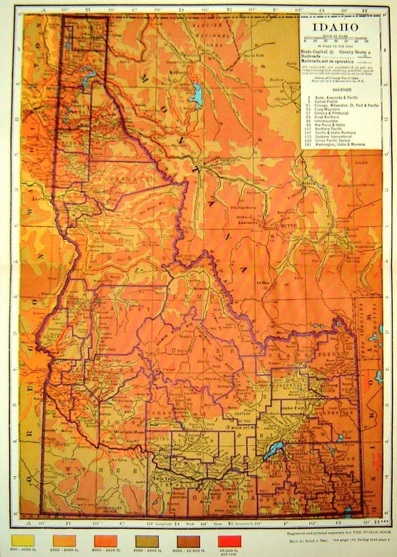 Vintage 1929 Color Map of Idaho