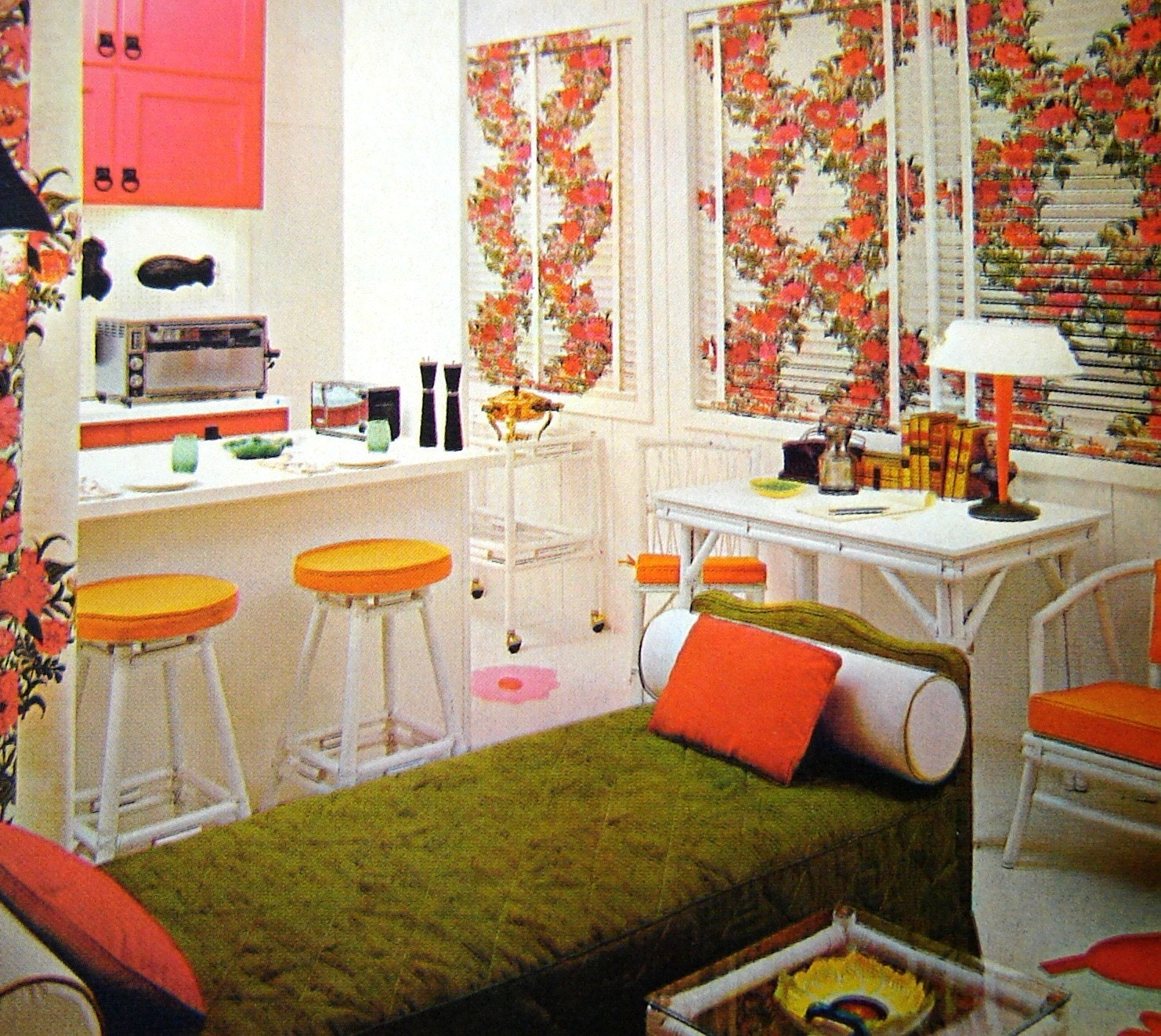 Vintage 1968 mod interior design book for 60s apartment design