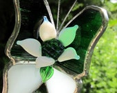 Blooming Flower Green and White Stained Glass Butterfly for your next Mosaic project