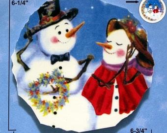 Winter Romance ceramic center focal for mosaic tile art