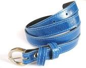 Women's Leather Belt - Skinny Leather Belt - in BLUE ME AWAY