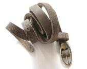 Women's Leather Belt - Super Skinny Leather Belt - in Dark Grey - SHIPPING FREE