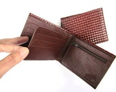 Men's Leather Wallet, Genuine Leather Wallet, Small Sized Leather Wallet for Men, Gift For Him, Gift For Men - BROWN AND WOVEN (No. 784)
