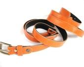 Women's Leather Belt - Double Wrap Skinny Leather Belt - in ORANGE