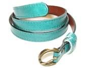 Skinny Leather Belt - Women's Leather Belt - in EMERALD GREEN